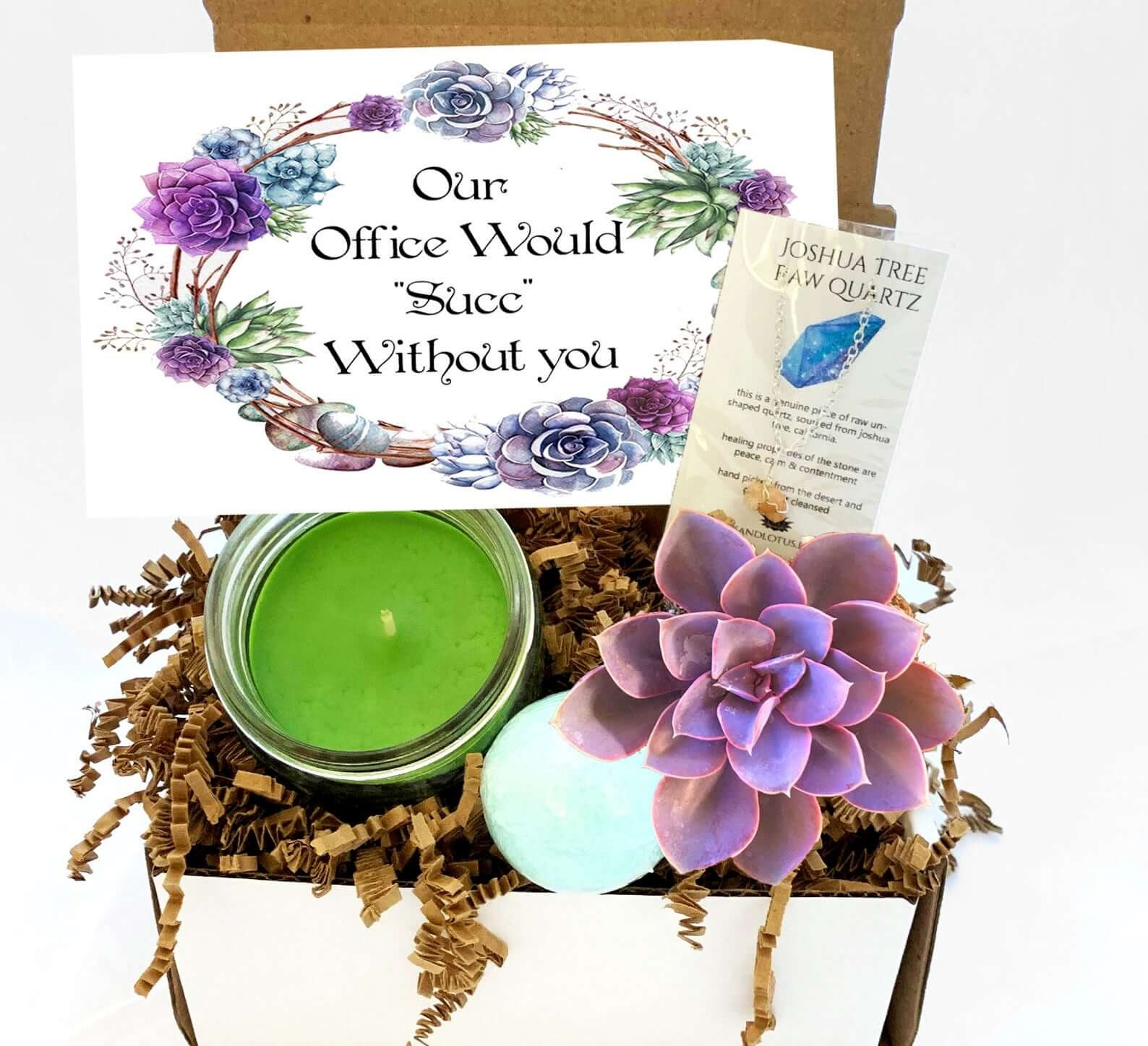 The Our Office Would Succ Without You gift box.