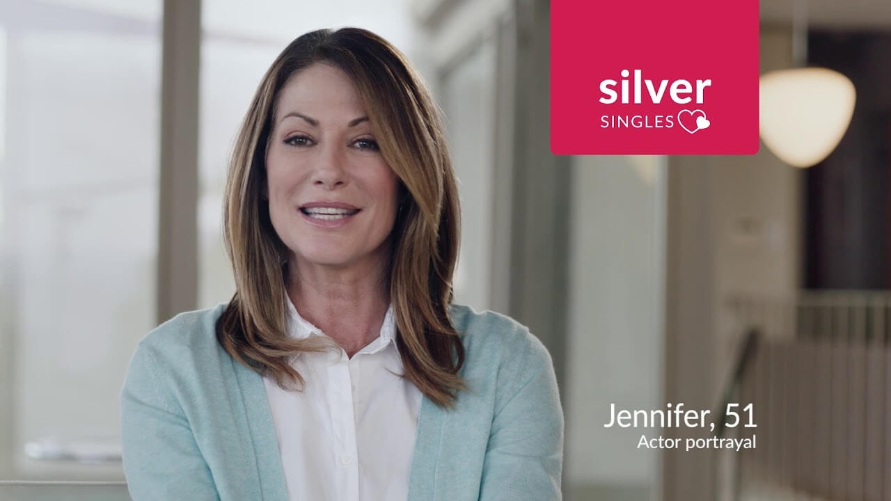 Silver Singles Ad featuring a happy woman.