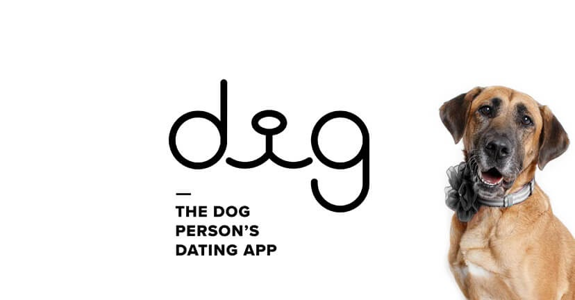 Dig logo with cute dog wearing a black bow.