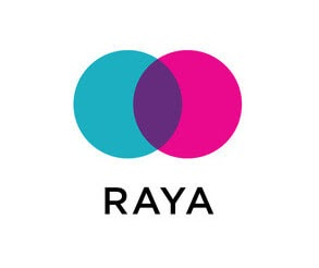Raya logo, teal and pink circles overlapping with name underneath.