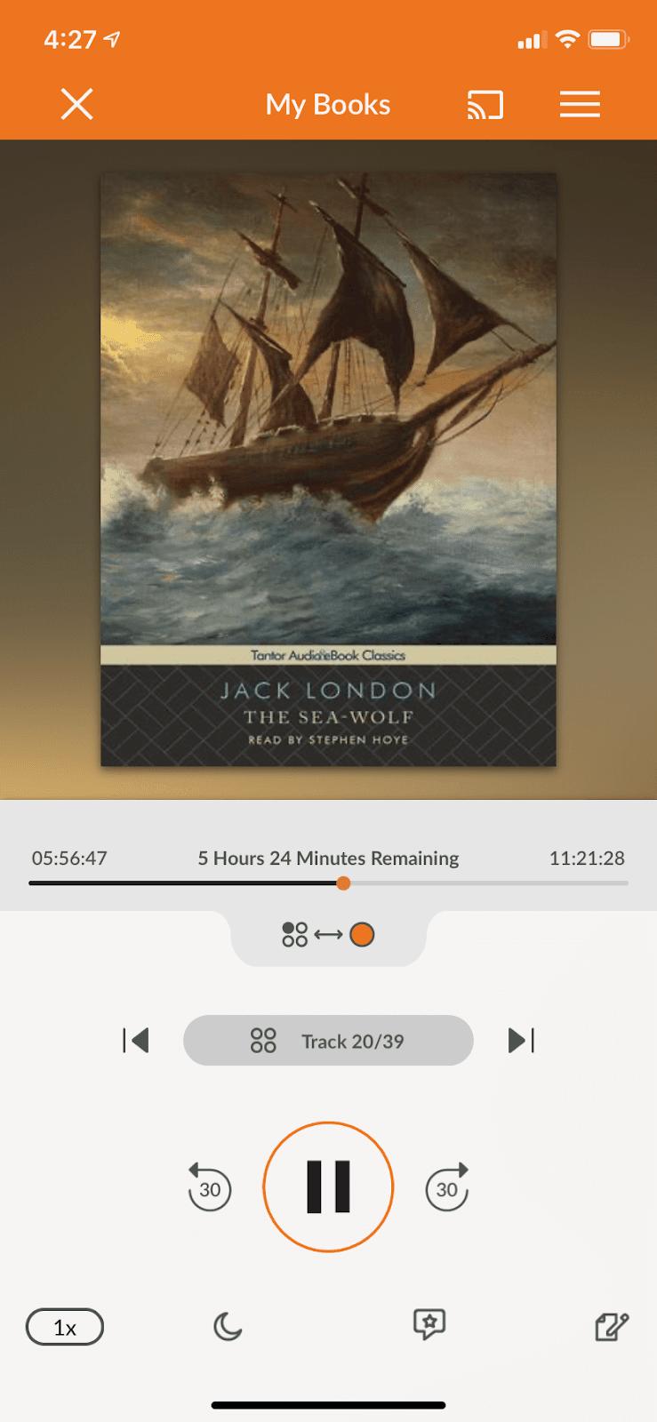 Audiobooks.com app interface