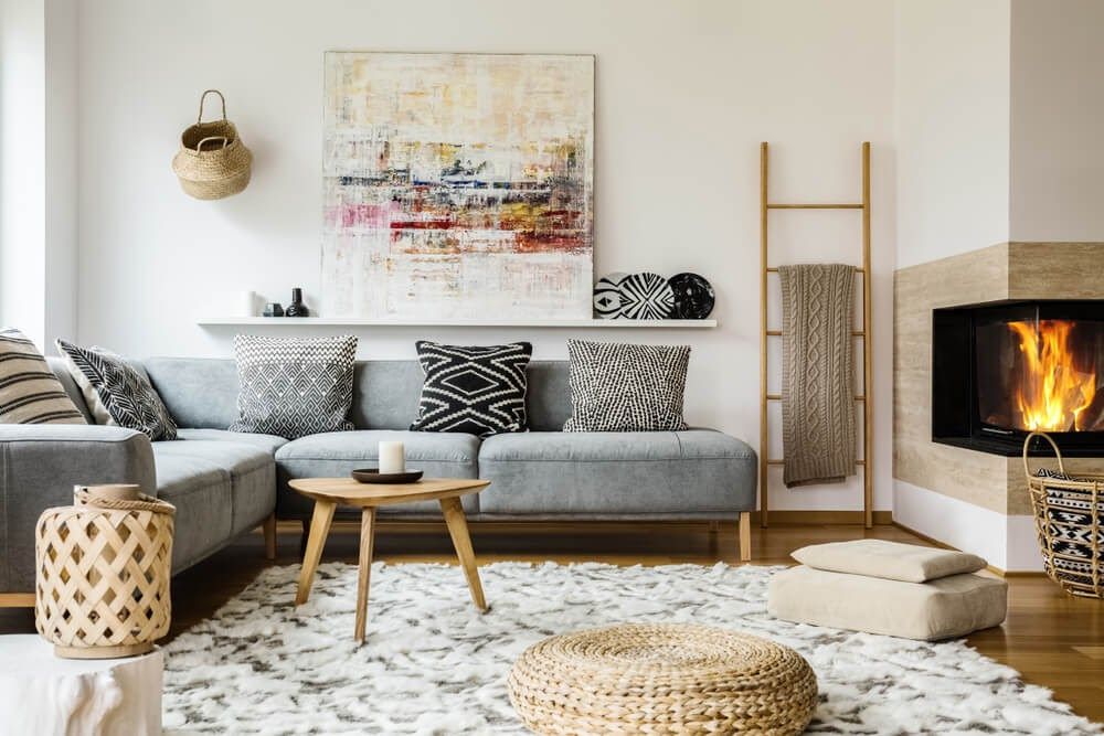 Boho living room layout with textured rug