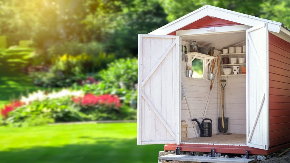 Shed with open doors showing tools and pots inside. The shed sits in a green yard.