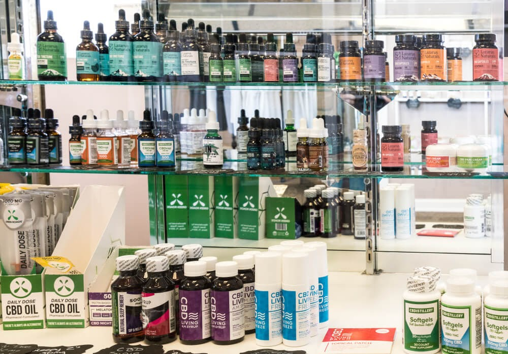 Store shel of CBD products