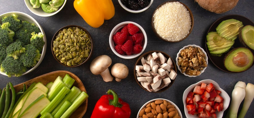 Various fruits, vegetables, nuts and rice,