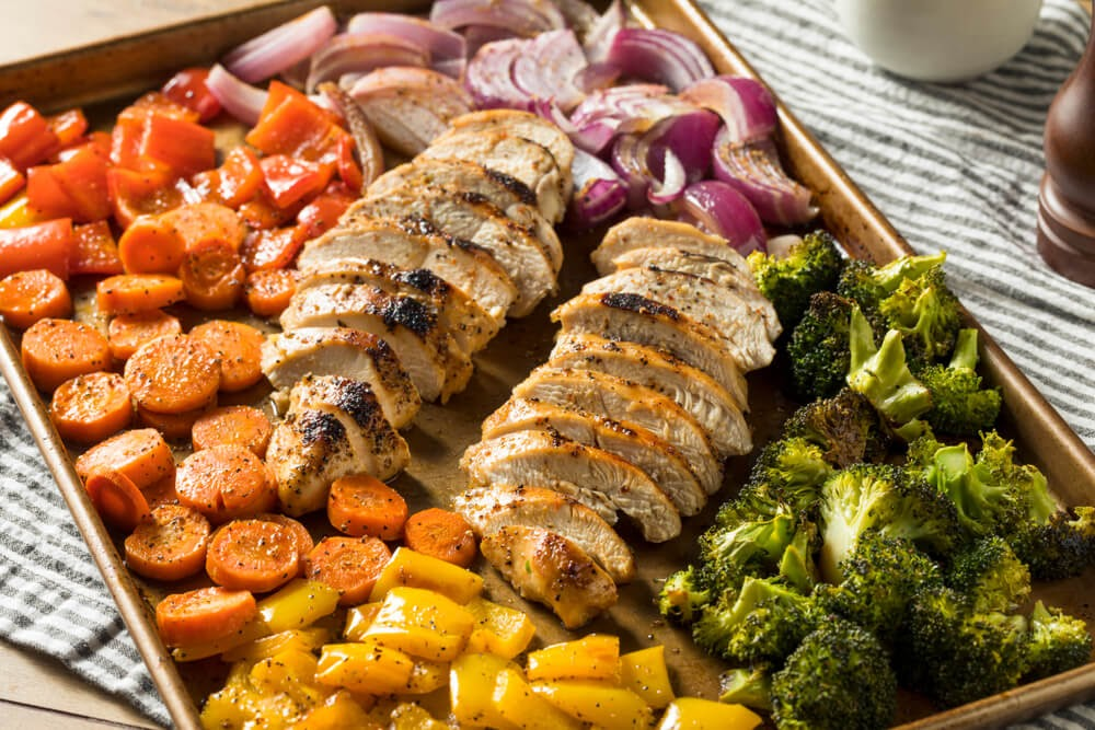 Sheet pan meal with chicken and veggies.