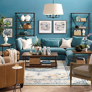 Blue and wood living room