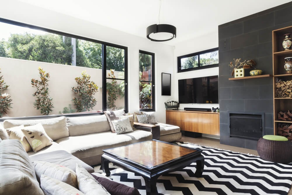 Modern black and cream living room with.