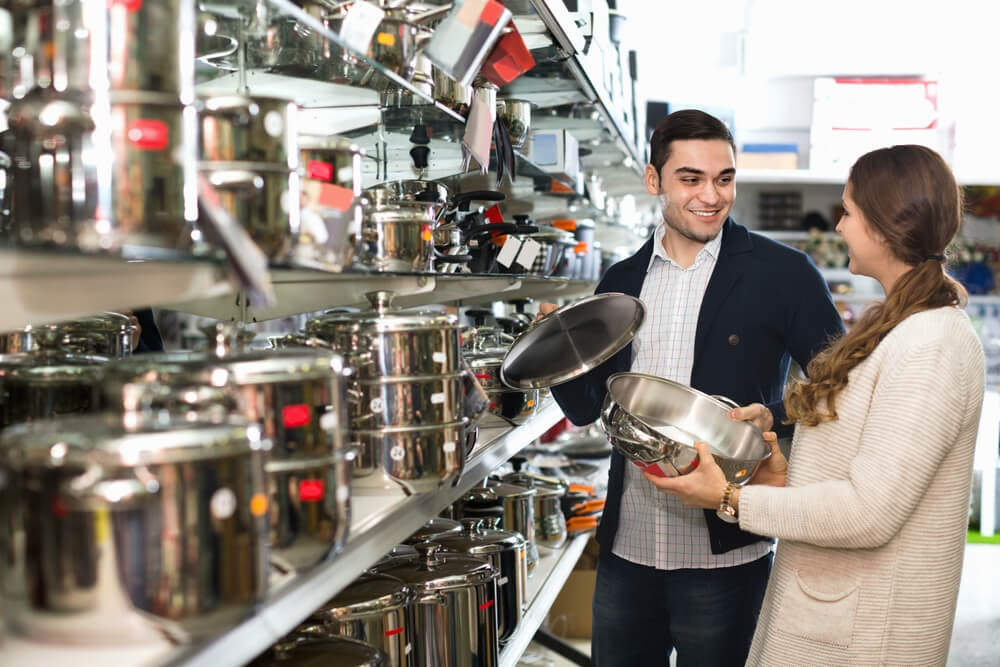 Couple buying cookware