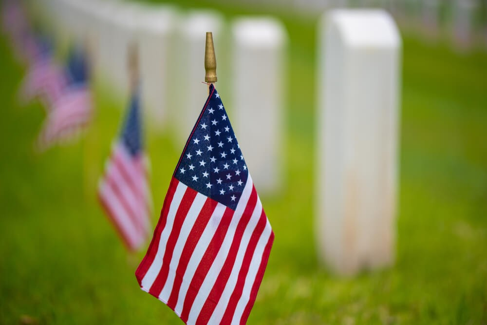 American flag at cemetery.