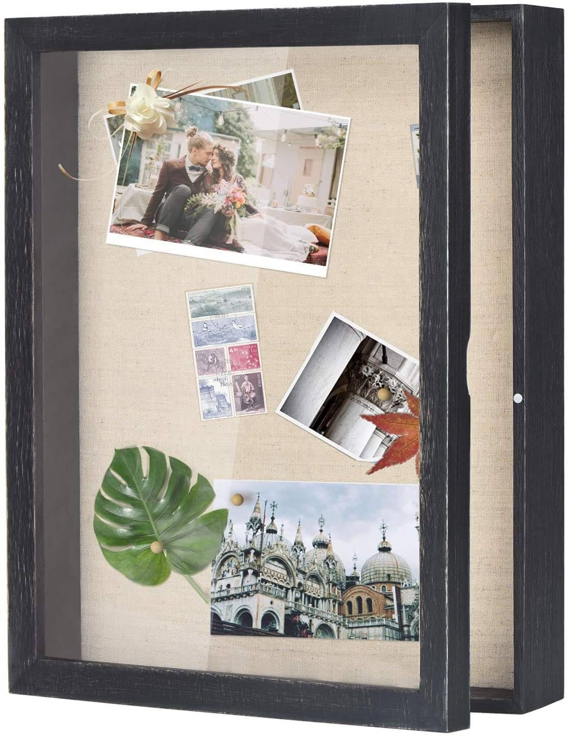 shadowbox with postcards