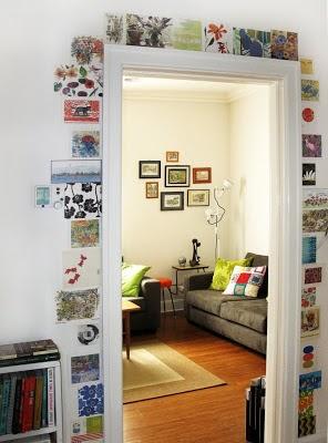 postcards around doorframe