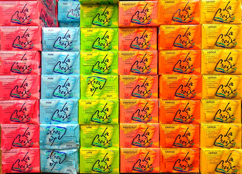 La Croix cases stacked.