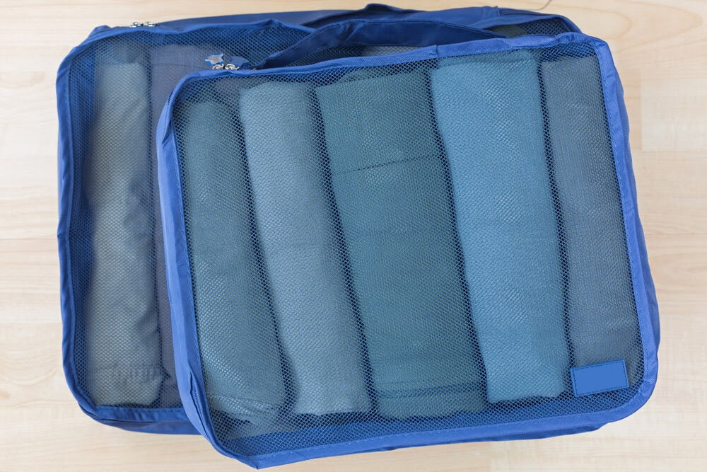 Blue packing cube example, filled