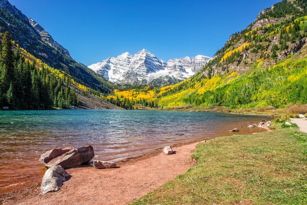 Maroon Bells, Colorado- River with mountain in background