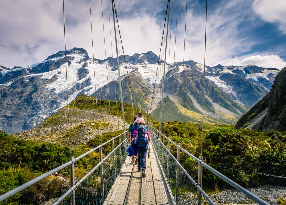 Suspended wire bridge in Mount Cook National Park, New Zealand