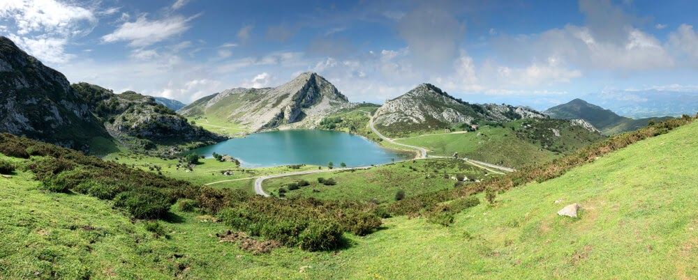 Valley and lake in Asturias, Spain