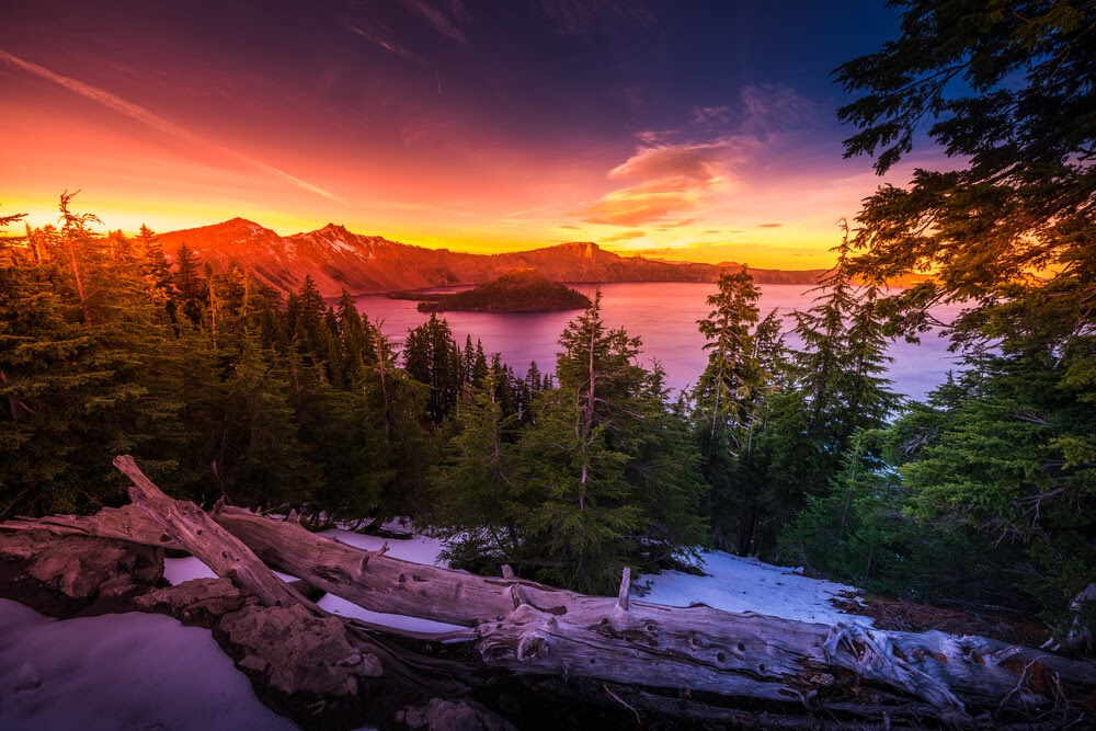 Crater Lake National Park, Oregon at sunset