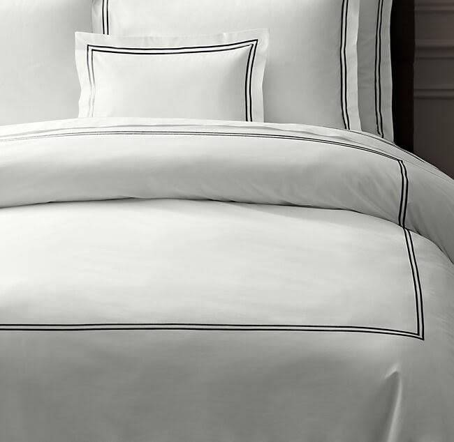 Restoration Hardware Italian Hotel Satin Stitch Duvet Cover