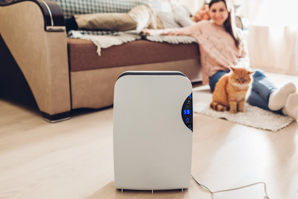 Woman and cat looking happily at their air purifier