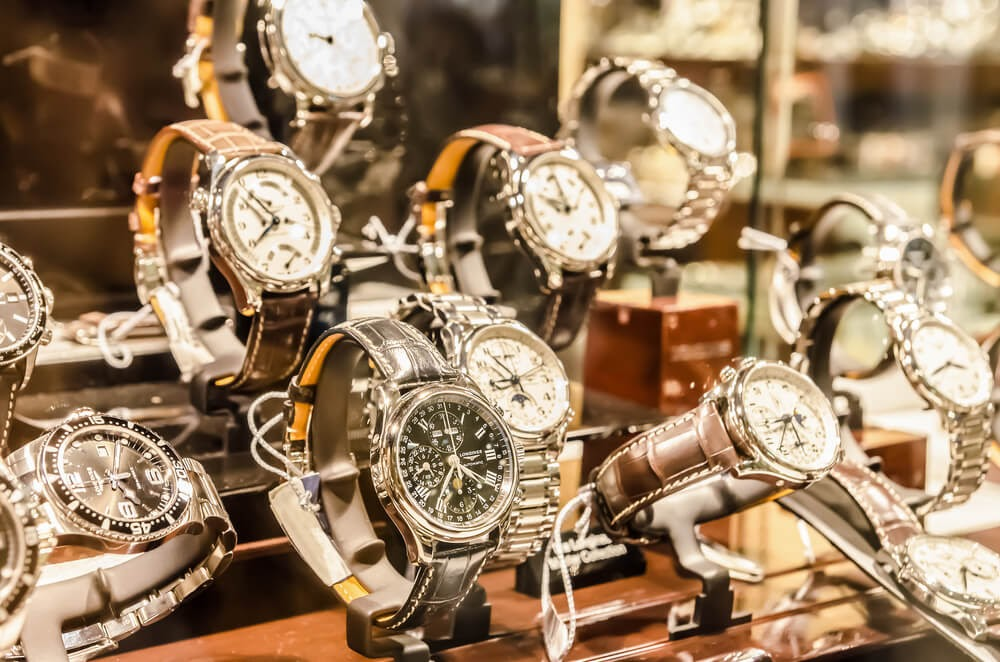 Picture of watches in a store window