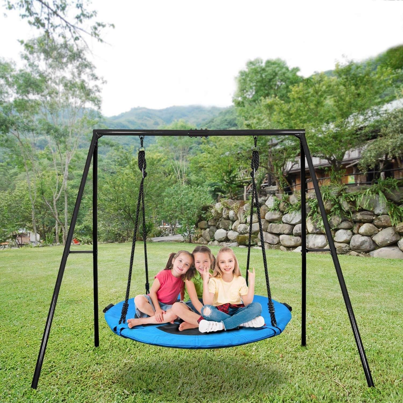 "Trekassy 40"" Saucer Swing Set with Metal Swing Stand"