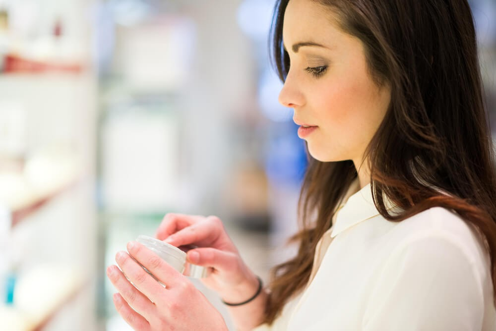Woman shopping for beauty products