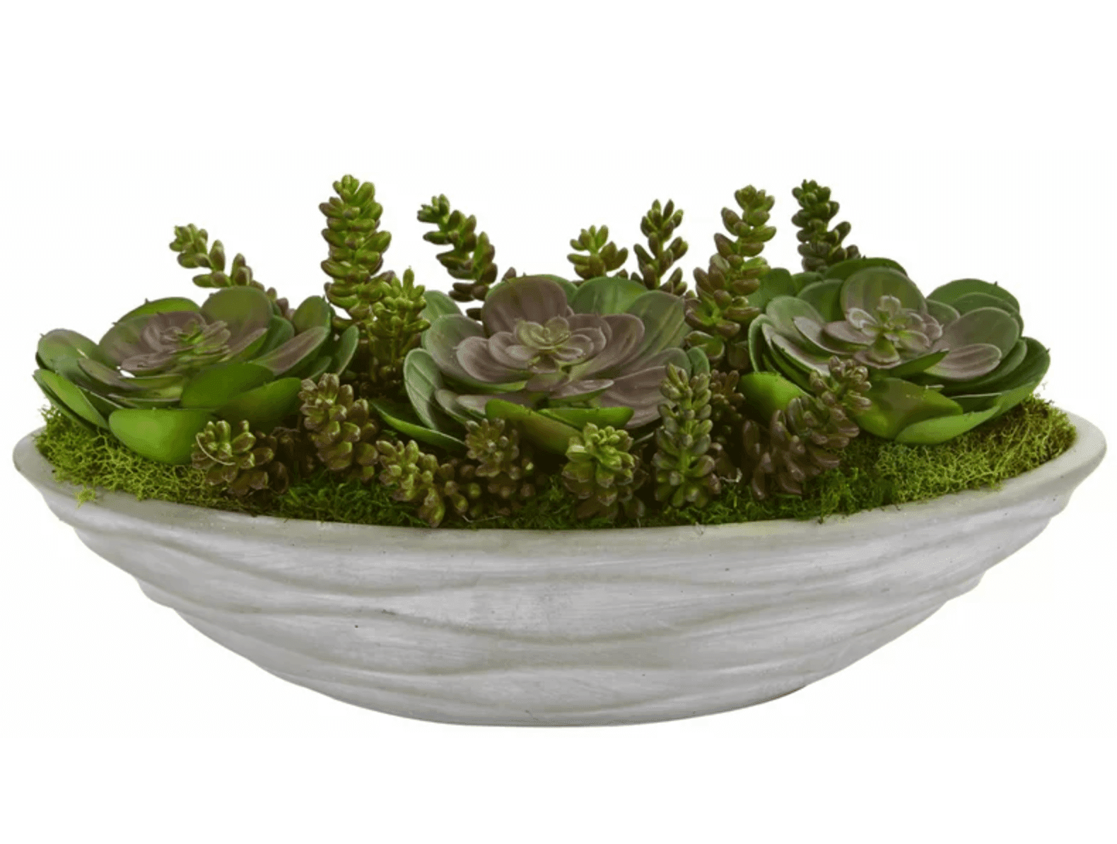 Bowl of fake succulents