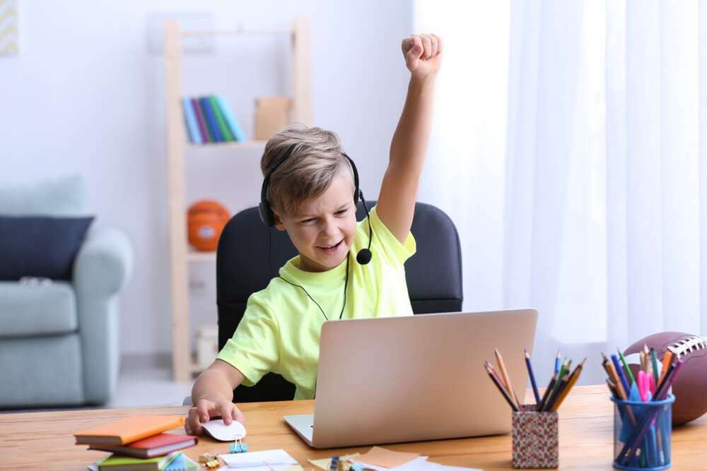 Boy on the computer with arm up in triumph