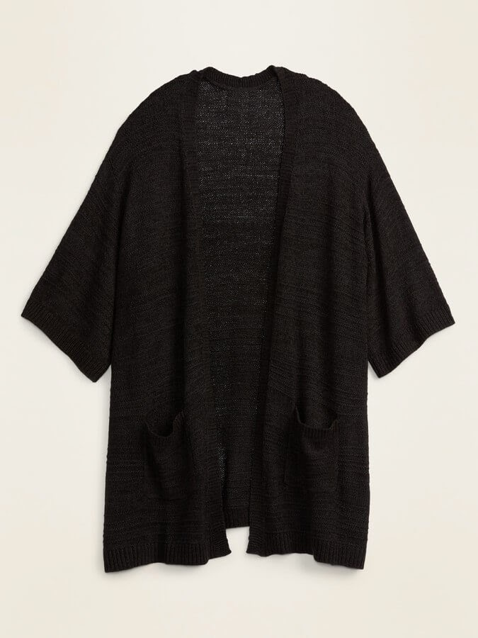 Textured Lightweight Open-Front Plus Size Sweater