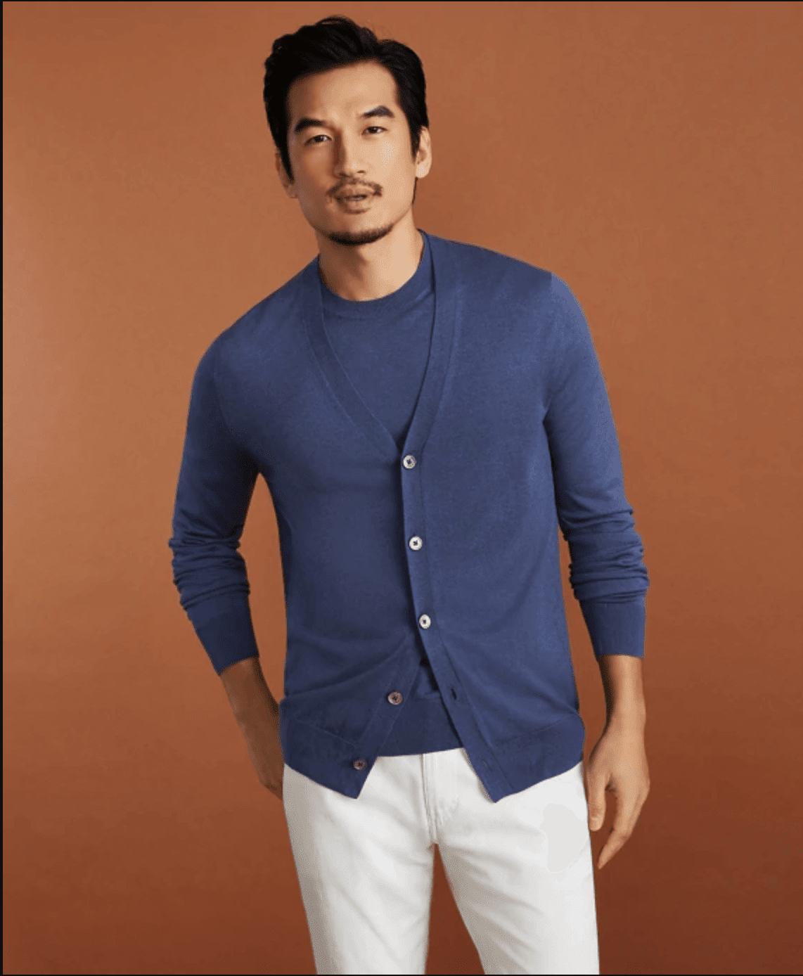 Fine Gauge Silk Cardigan Sweater