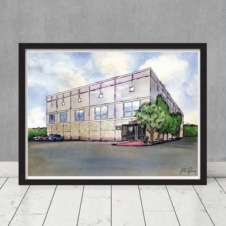 Framed watercolor of Dunder Mifflin