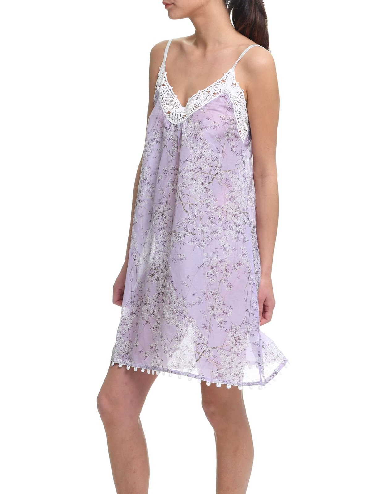 Cherry Blossom Lace Front Nightgown