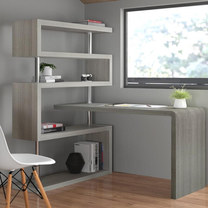Zone L-Shape Desk with Bookcase