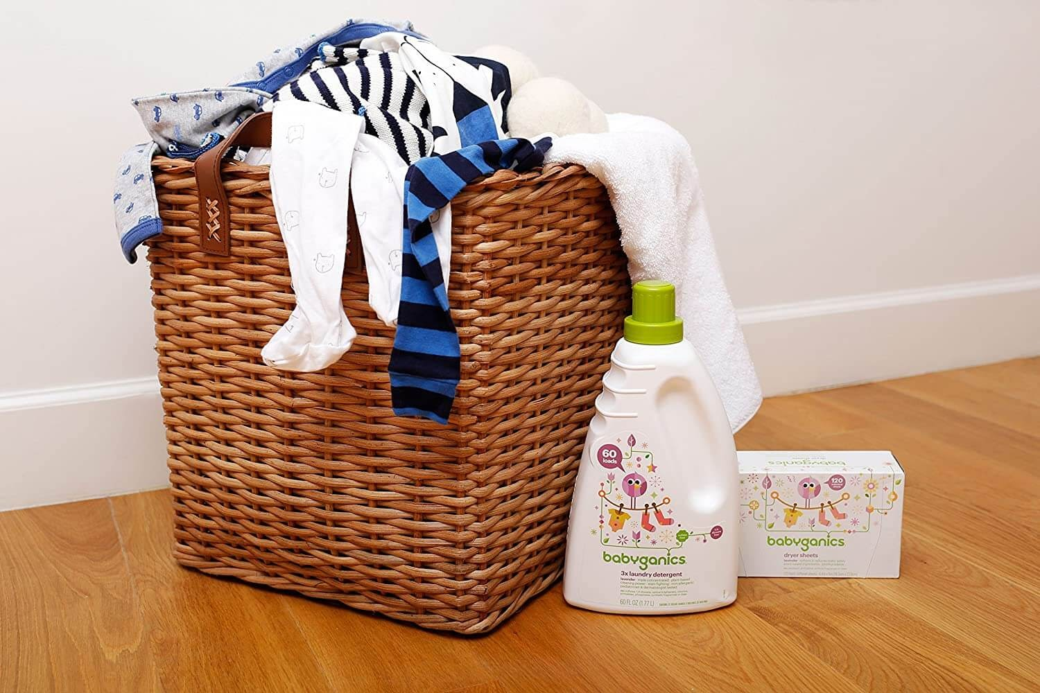 Laundry basket with baby clothes