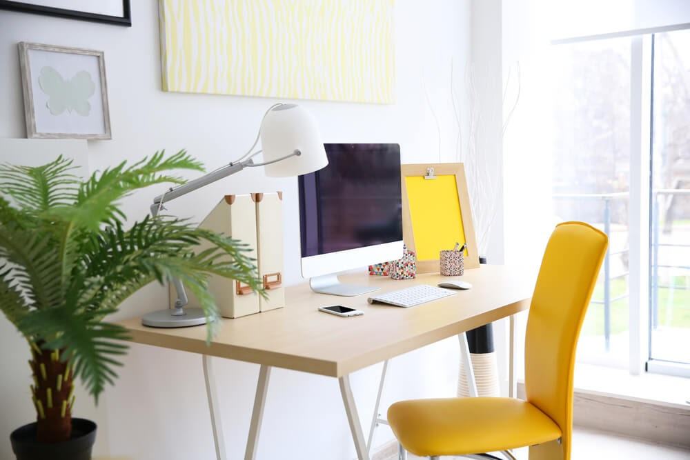 Home office with all the yellow accessories