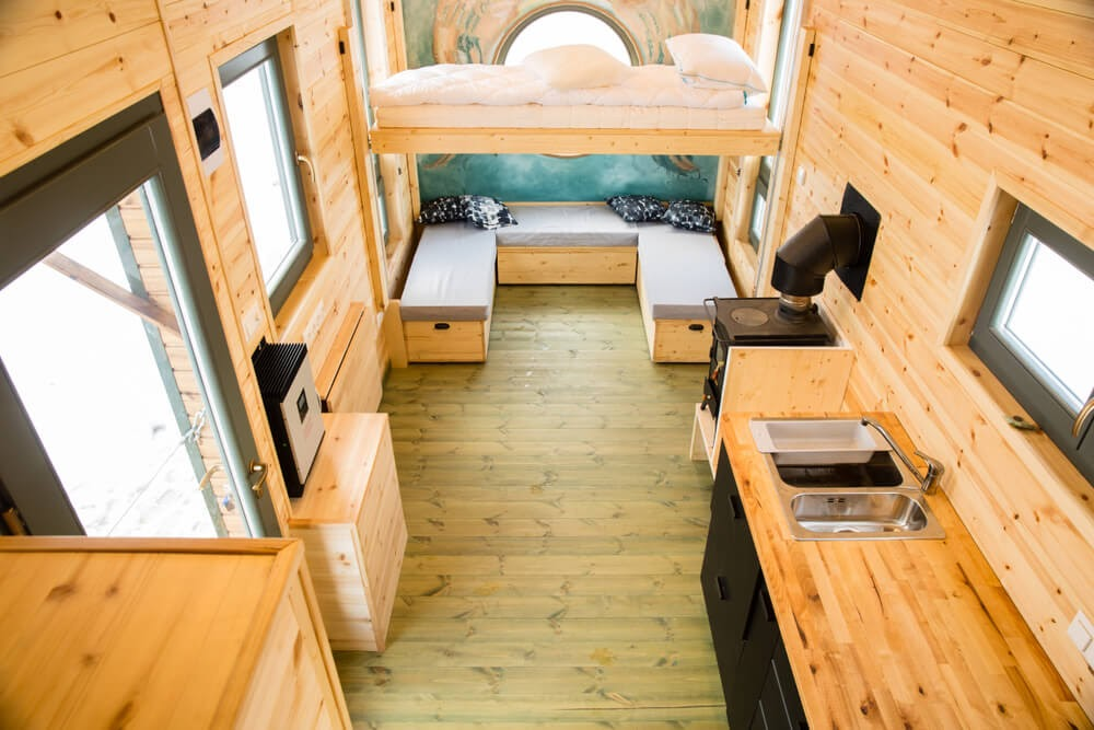 inside tiny house with wood interior