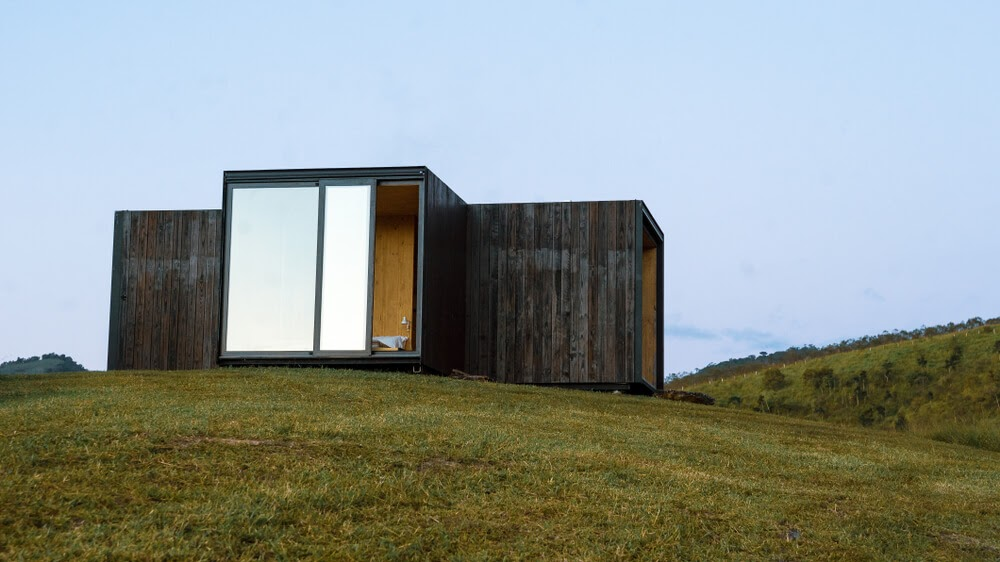 tiny house with sliding glass door