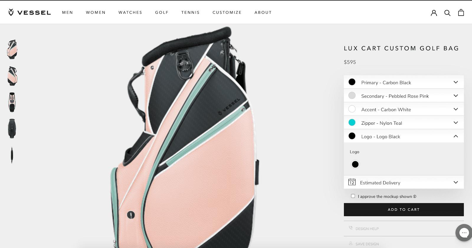 Vessel Lux Cart Custom Golf Bag
