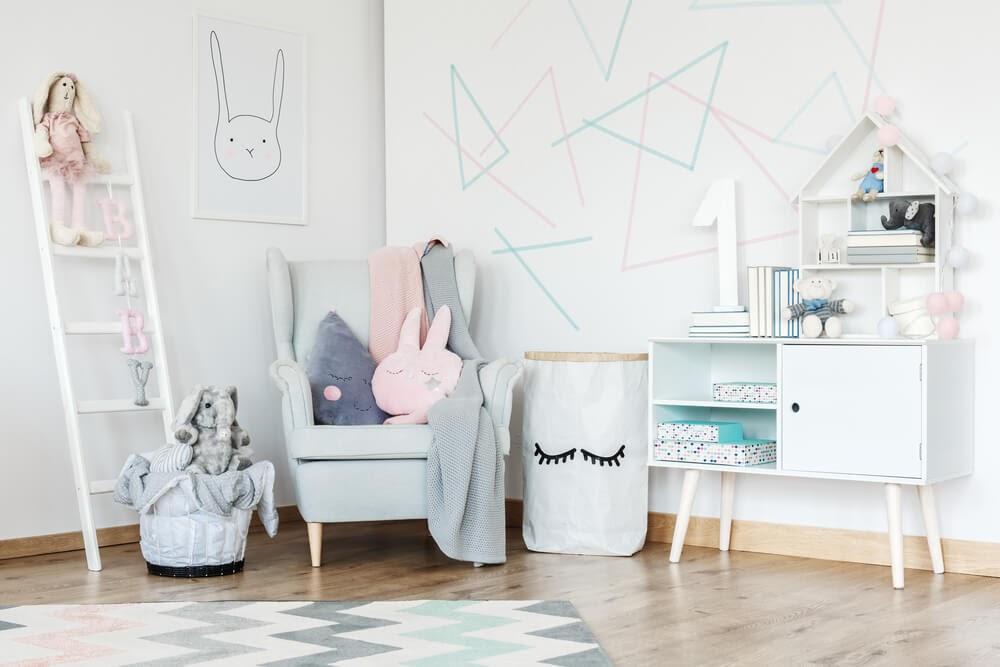 Kids room with geometric designs on it