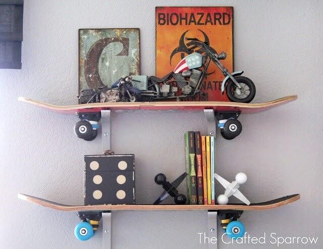 Skateboard as shelves in a room