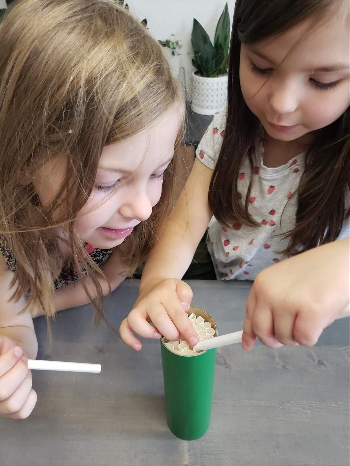 Girls stuffing straws into a green tube