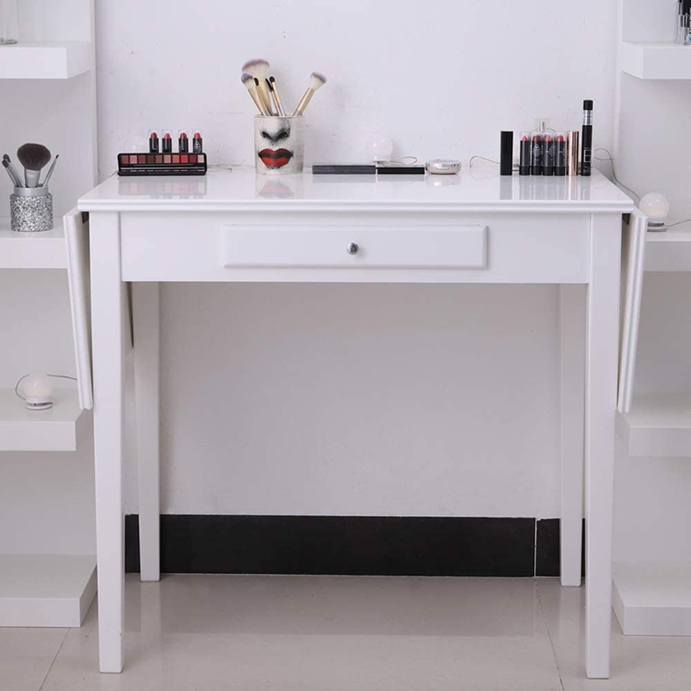 Chende White Drop Leaf Vanity Table