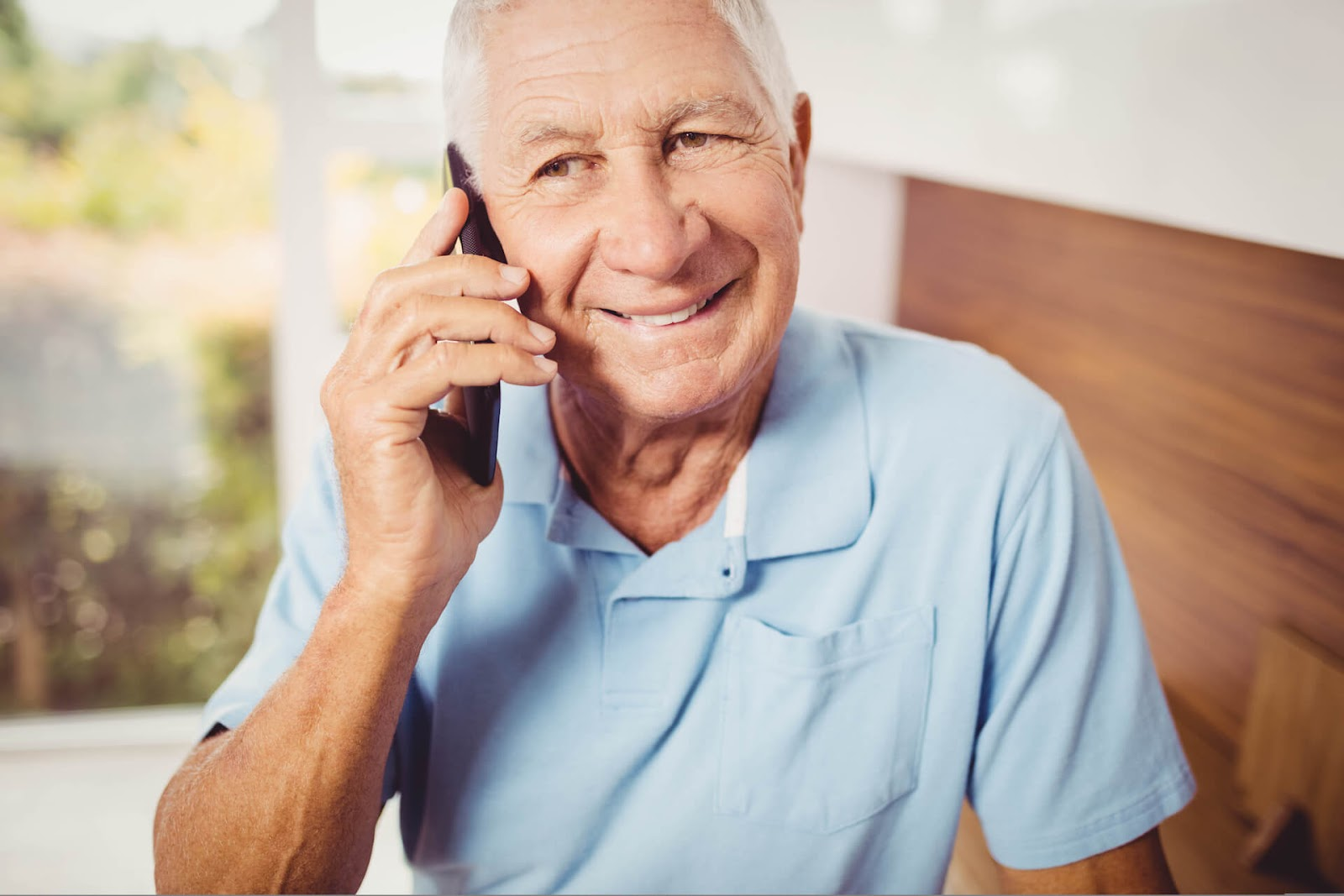 Senior man talking on a cell phone