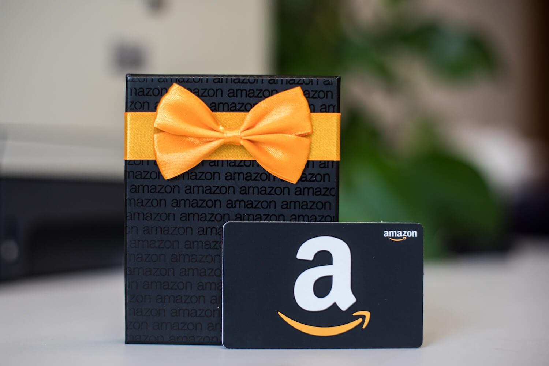 Amazon gift card and box