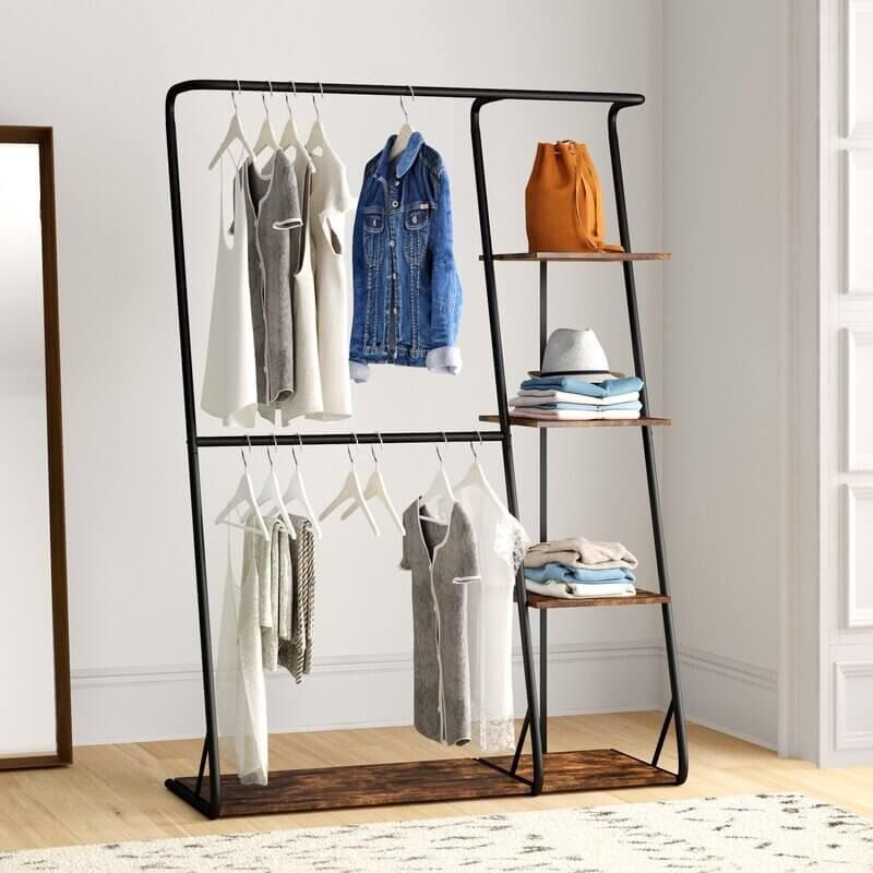 Tennison 48'' W Rustic Z-Frame Wardrobe with Shelves