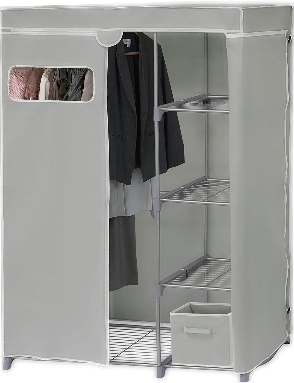 Simple Houseware Freestanding Cloths Garment Organizer Closet with Cover