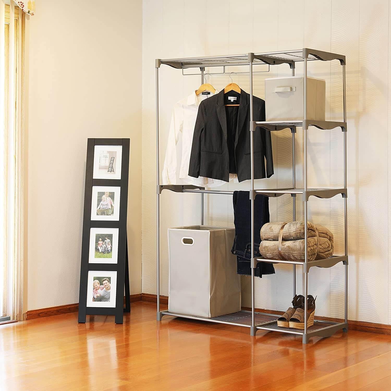 Simple Houseware Freestanding Clothes Garment Organizer Closet