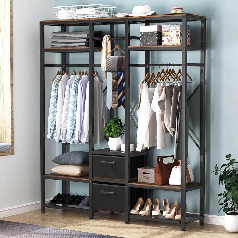 Tribesigns Free Standing Closet Organizer, Metal Garment Rack with Shelves