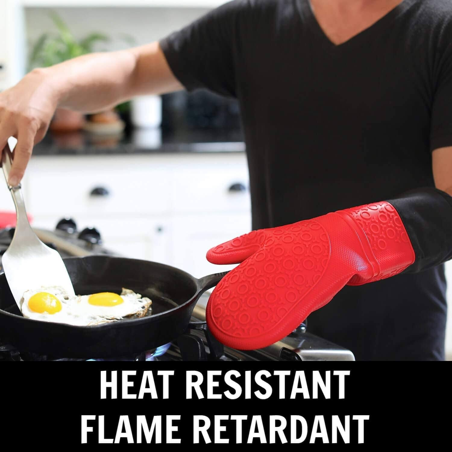 HOMWE Extra Long Silicone Oven Mitts